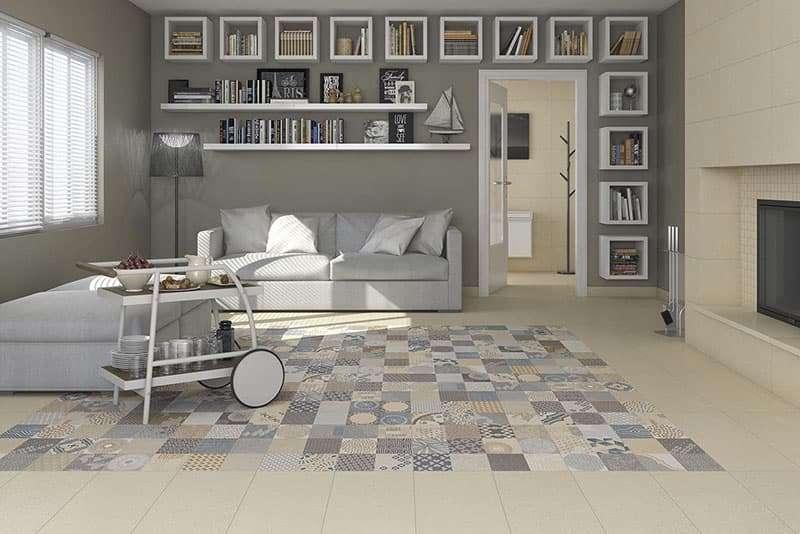 Ambiente sala de estar, ejemplo de ceramica